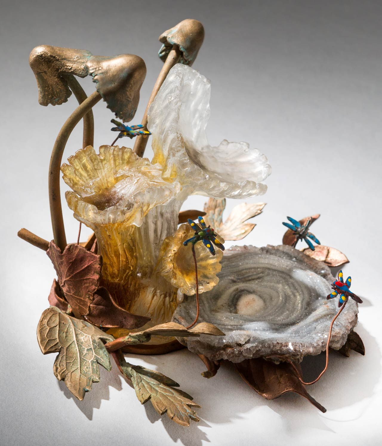glass sculpture: mushrooms and dragonflies
