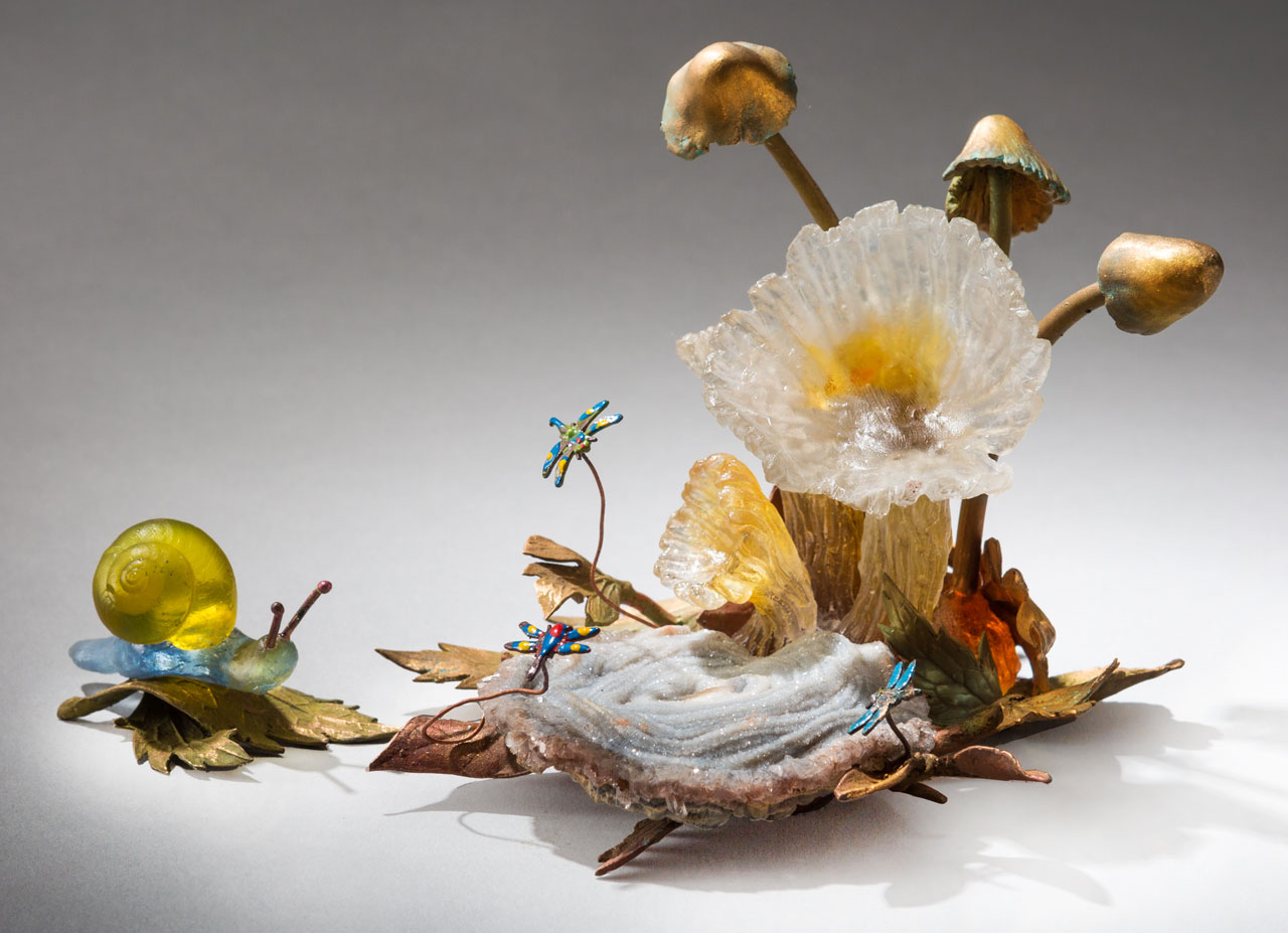 glass sculpture: mushrooms and snail