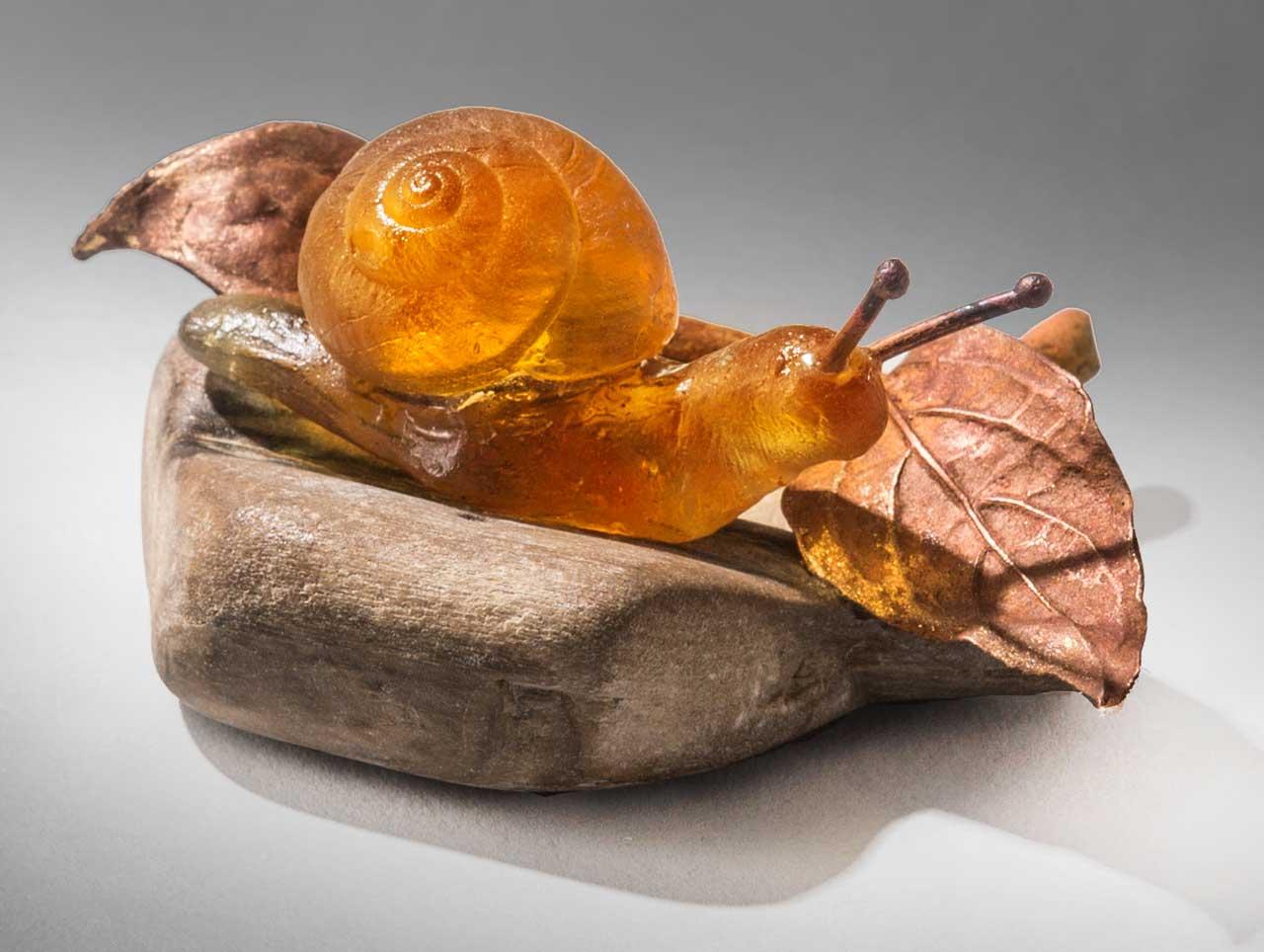 glass sculpture: orange snail
