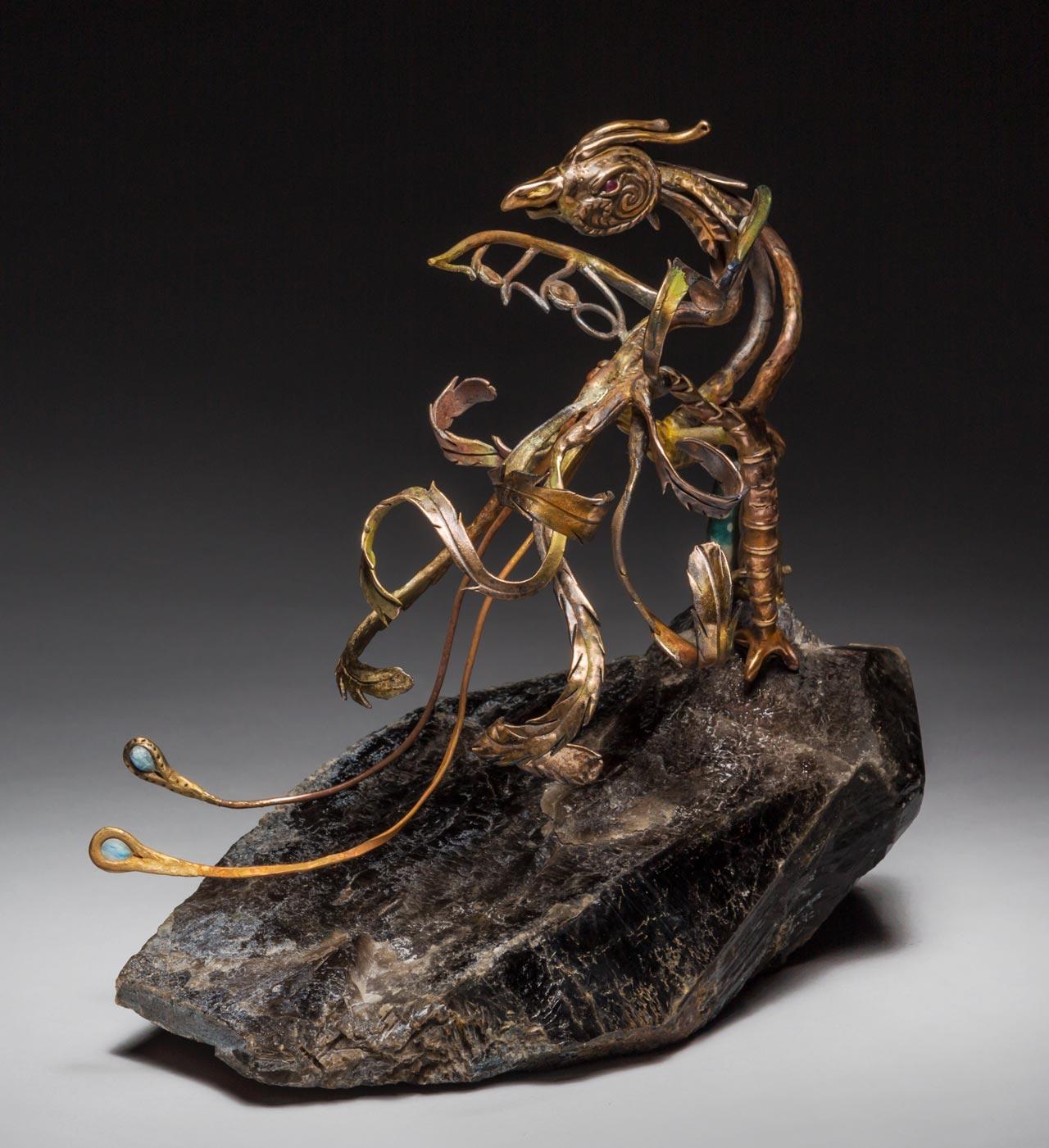 metal sculpture: phoenix back view
