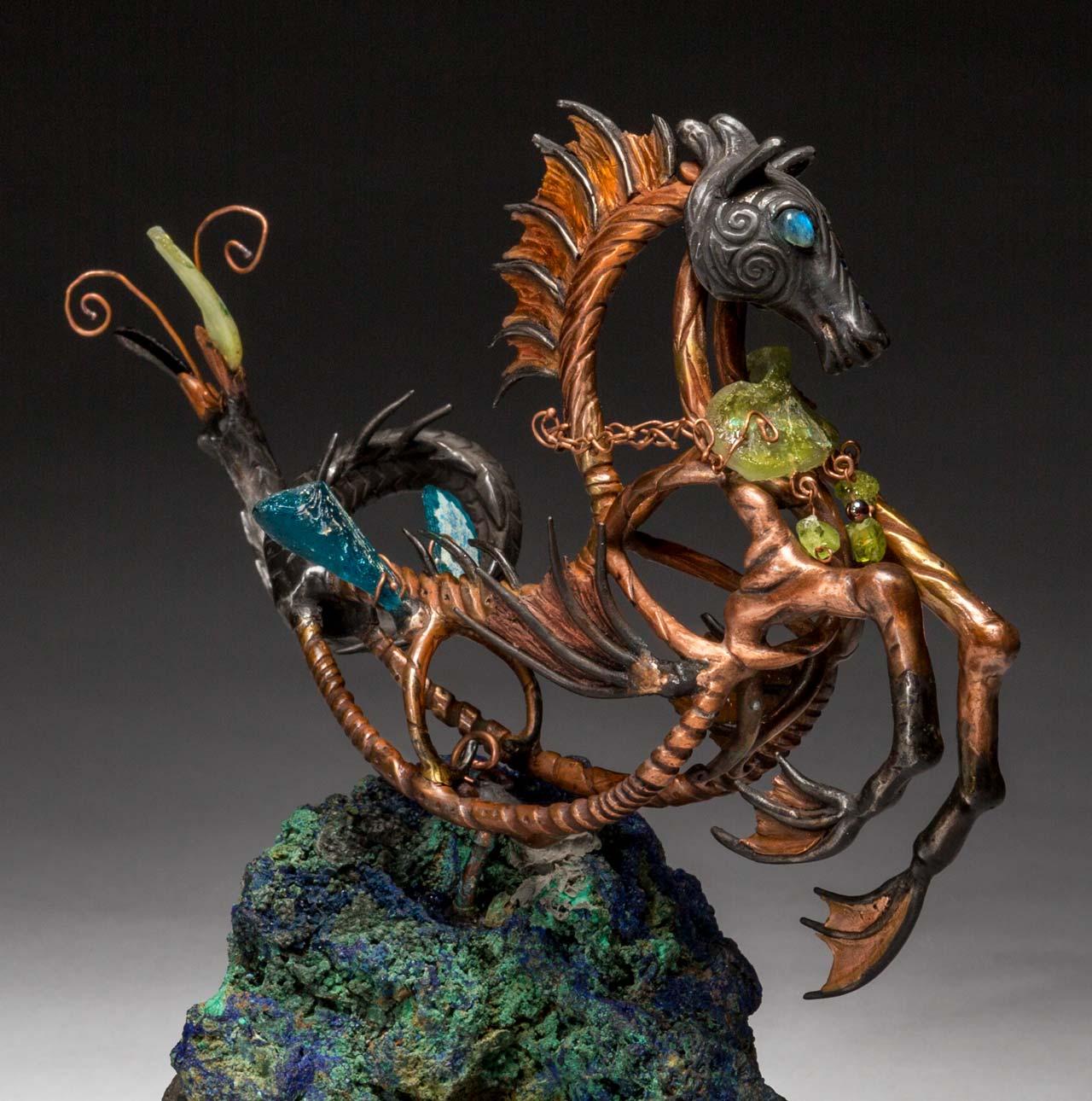 metal sculpture: neptune 3/4 view