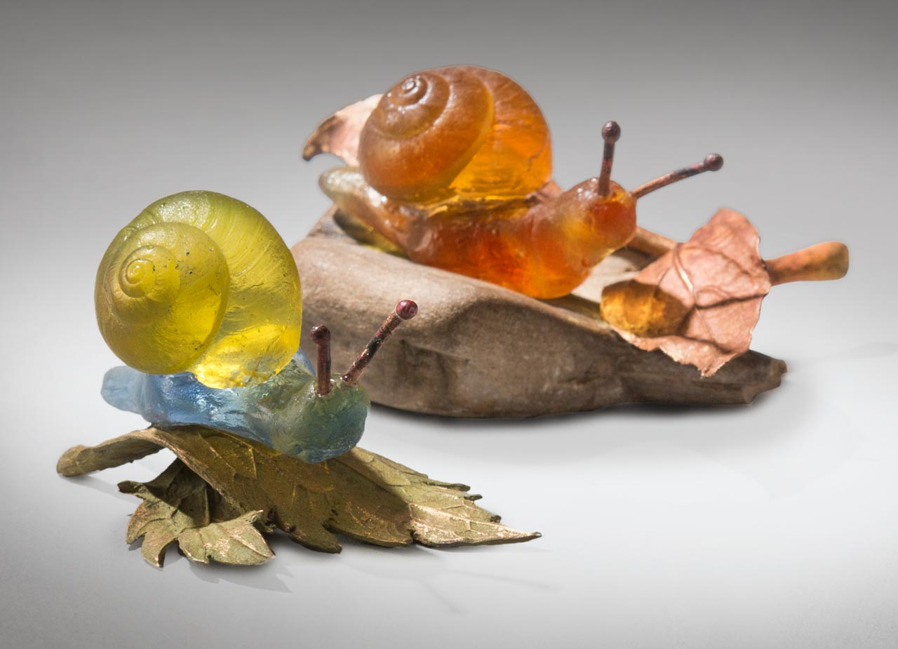 glass sculpture: snails