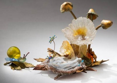 Mushrooms and Snail
