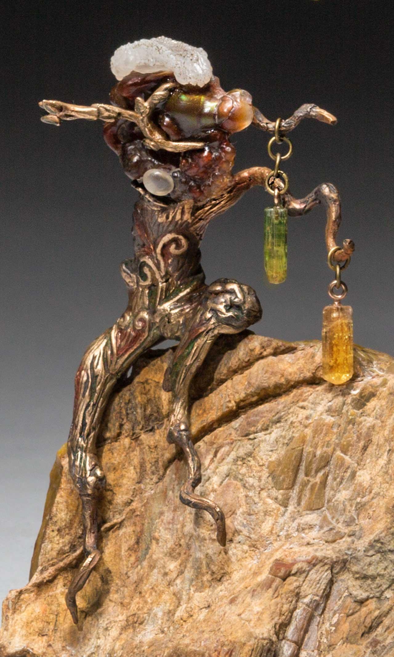 metal sculpture: forest spirit close up